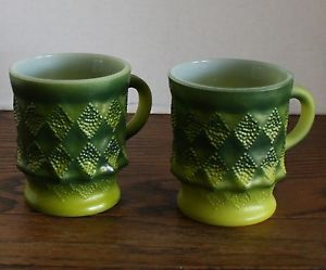 2 Green Glass Mugs by Anchor Hocking Fire King Kimberley