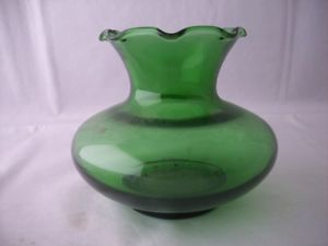 Anchor Hocking Forest Green Ruffled Glass Bud Vase Nice