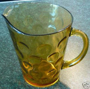 Vintage Anchor Hocking Amber Depression Glass Water Beer Pitcher Circle Design