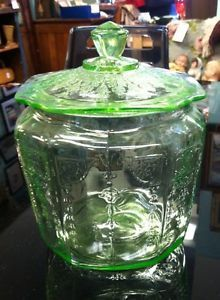 Vtg Anchor Hocking Green Depression Vaseline Glass Biscuit Cookie Jar Princess