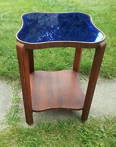 Vintage Antique Art Deco Cobalt Blue Glass Mirror Top Hall End Table Stand