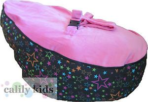 Baby Toddler Kids Portable Bean Bag Seat Snuggle Bed Black Star Dark Pink