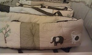 New Pottery Barn Kids Baby Elephant Organic Crib Bumper Bed Skirt Neutral