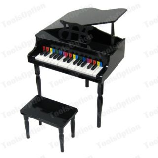 New Child's Black Piano Baby Grand Kids w Bench Toy