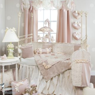Glenna Jean Baby Girl Pink Cream Damask Designer Crib Nursery Bedding Quilt Set