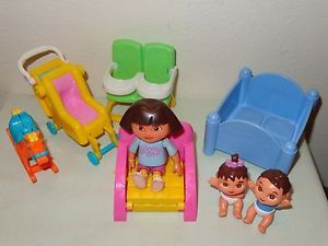 Dora Twins Nursery Lot Doll House Figures Furniture Baby Crib Stroller Chair