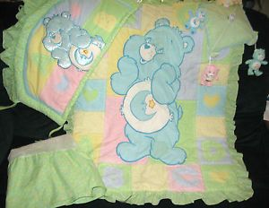 Care Bear's Baby Crib Bedding Set Comforter Bumpers Dust Ruffle Mobile Bks