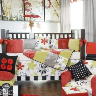 Glenna Jean Baby Girl Unique Black Red Grey Green Crib Nursery Quilt Bedding Set