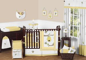 Cheap Yellow White Gray Bumble Bee Unisex Baby Boy Girl Crib Room Bedding Set