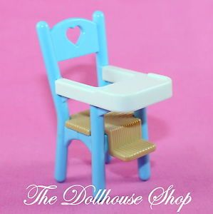 Blue Feeding High Chair Baby Boy Doll Fisher Price Loving Family Dream Dollhouse
