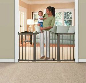 Baby Pet Safety Secure Gate Door Extra Wide Bronze Child Infant Pet