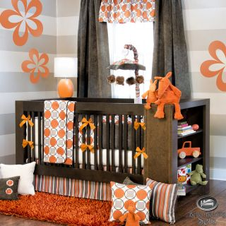 Baby Boy Girl Neutral Orange Grey Modern Crib Nursery Newborn Best Bedding Set