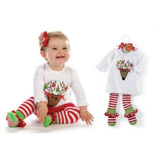 New 2pcs Baby Girl Kids Clothes Costume Reindeer Top Leggings Pants 6M 4T 66