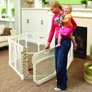 North States Superyard Ultimate Baby Pet Gate Play Yard Ivory 8779