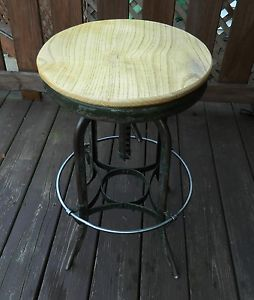 Vintage Toledo Drafting Stool Bar Stool Industrial Machine Age Stool Swivel
