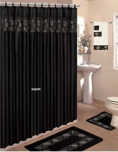 18 Piece Bathroom Rug Set Black Flower Bath Rugs Shower Curtain Towels
