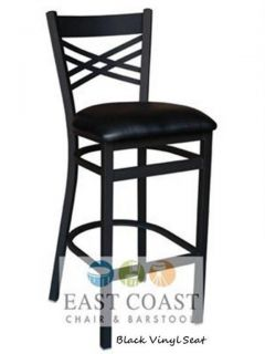 New Commercial Cross Back Metal Restaurant Bar Stool with Black Vinyl Seat