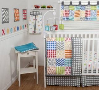 Sumersault Doodles Brights 10pc Baby Boy Girl Crib Bedding Set Bright Squares