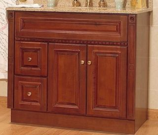 "JSI Newport Birch Bathroom 36"" Vanity LH Drawers Medicine Cabinet Mirror Lights"
