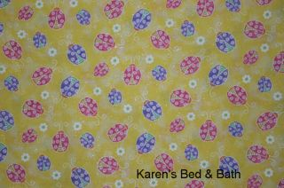 Ladybug Kitchen Yellow Sparkles Curtain Topper Valance