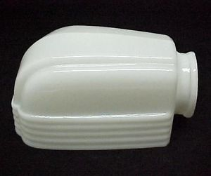 Art Deco Milk Glass Bathroom Light Fixture Slip Shade