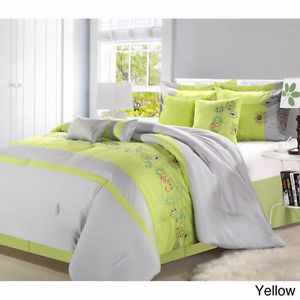 Lime Green Grey King 8 P Comforter Set Bed in A Bag Girls Teen Bedroom Bedding