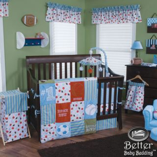 Trend Lab Baby Boy Baseball Sport Ball Themed Crib Nursery Bed Quilt Bedding Set