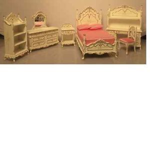 Bespaq Dollhouse Miniature Youth Kid Girl's Bedroom Furniture Set Bed Desk New