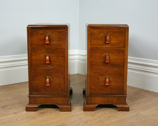 Pair 2 Antique Art Deco Walnut Bedside Bed Chests Cabinets Pot Cupboards Tables
