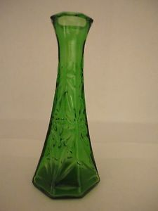 "Collectible 6"" Green Hoosier Glass Bud Vase 1 4063 B"