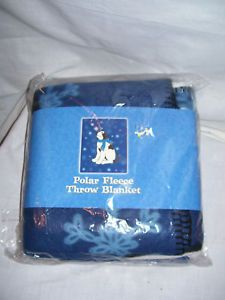 Blue Polar Fleece Throw Blanket Blue Snowflakes Dog