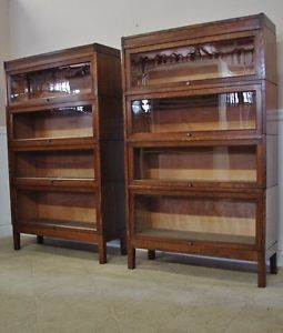 Antique Oak Barristers Bookcase Pair Lawyers 4 Section Stacks by Shaw Walker