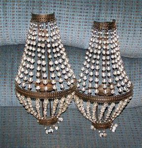 Vintage Pair of Beaded Wall Sconces Candle Lite Chic Shabby Retro