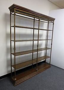 Unique Spanish Style Bookcase Wrought Iron Gold Gilt Double Shelf Book Shelves