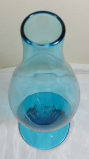Vtg Mid Century Blenko Hand Blown Art Glass Aquamarine Cobalt Blue Bud Vase RARE