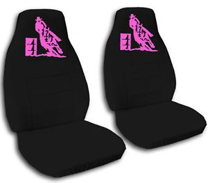 Cool Black Car Seat Covers w Pink Barrel Racing Awesome
