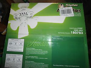 Hunter 51027 44 in Ridgefield Five Minute White Ceiling Fan with Light Kit