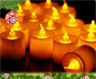 24pcs LED Smokeless Flickering Battery Candles Tea Light Natural Color Flash E45