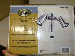 Hampton Bay Razor 3 Light Brushed Nickel Ceiling Fan Light Kit