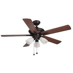 Hampton Bay Lampkin 52 in Oiled Rubbed Bronze Ceiling Fan with Light Kit