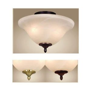 New 2 Light Ceiling Fan Kit Antique Brass Bronze White Glass Aireryder