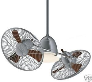 "New 42"" Gyro Brush Nickel 2 Head Ceiling Fan Wall Control 9' Ceiling Required"