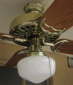 Hunter Original Ceiling Fan 22274 Polished Brass Reverse Air Irons Oak Blades