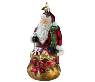 Kurt Adler Noble Gems Santa with Toy Sack Glass Christmas Ornament