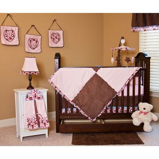 Pink and Brown Baby Girl 10 Piece Crib Bedding Set BNIP