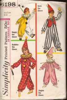 Simplicity Sewing Pattern 6198 Clown Costume Child 8 10 Hat Halloween