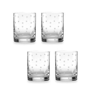 4 Lenox Kate Spade Larabee Dot Double Old Fashion Glass Crystal Set Stemware