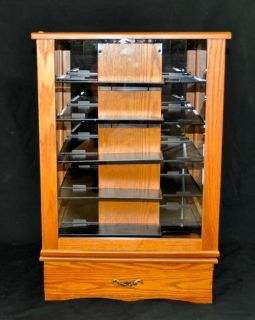 Curio Model Car Display Case Wood Rotating Cabinet