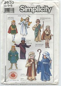 Nativity Christmas Costumes Simplicity Sewing Pattern 8930 Child Size 6 8 Uncut
