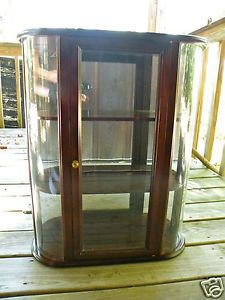 Vtg Victorian Curved Glass Wood Wall Table Curio Display Cabinet Mirrored Back